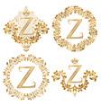 Golden Z letter vintage monograms set Heraldic vector image vector image