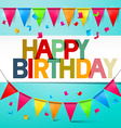 Happy Birthday Retro Colorful Card Bunting with vector image