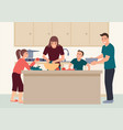 happy family having fun cooking at home together vector image