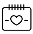 heart calendar day line icon love date vector image vector image