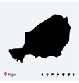 high detailed map niger with navigation pins vector image vector image