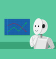 humanoid robot analyzing stock graphs vector image