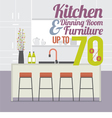 Kitchen Room Sale Up to 70 Percent Banner vector image vector image