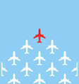 leadership concept one red leader airplane leads vector image vector image