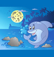 night seascape with jumping dolphin vector image vector image