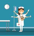 nurse multitasking at hospital vector image vector image