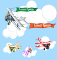 Old airplane model with ribbons flying in the sky vector image