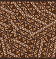 patchwork with brown geometrical ethnic motifs vector image