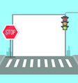 pedestrian crossing with stop sign traffic lights vector image vector image