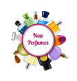 perfume bottles under circle with place for vector image vector image