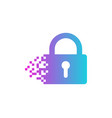 pixel security logo icon design vector image