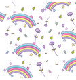rainbow and flowers background vector image