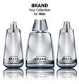 realistic silver perfume bottles mock up vector image vector image