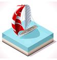 Sail Boat Set 02 Vehicle Isometric vector image vector image