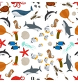 Sea animals flat style seamless pattern vector image