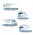 semi truck line logo vector image vector image