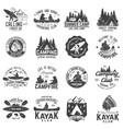 set canoe kayak and camping club badge vector image vector image