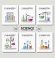 set of scientific laboratory research cards vector image vector image