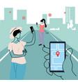 smartphone health virus tracking location app vector image vector image