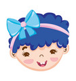 sweet little girl face blue hair with ribbon vector image vector image