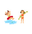 swimming child in lifebuoy kid with towel wiping vector image