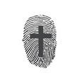 thumb prints or fingerprint with cross showing vector image vector image