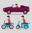 transport logistic set vehicles with drivers vector image