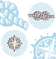 Vintage marine symbols icon set engraving knot and vector image