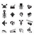 Sushi icons set Seafood black symbols vector image