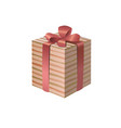 3d striped gift box with a pink ribbon bow vector image vector image
