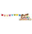 A bike with kids and the hanging clothes vector image vector image