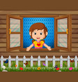 a girl at the window vector image