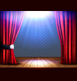 a theater stage with a red curtain and hand on vector image vector image