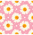 Abstract seamless chamomile pattern on pink vector image