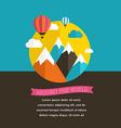 Air balloon sun and mountain backgrounds vector image