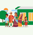 big happy indian family in national dress vector image