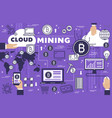 bitcoin cryptocurrency cloud mining technology vector image vector image