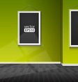 blank paper frame on green wall vector image vector image