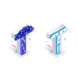 blue 3d isometric letter t made with cellular vector image
