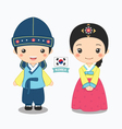 boy and girl in korean costume vector image vector image