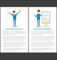 business strategy success businessmen working vector image vector image