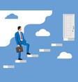 businessmen walk up stairs to door vector image