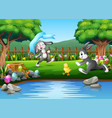 cartoon rabbit running and playing on the nature vector image vector image