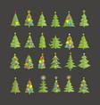 christmas trees image design set vector image