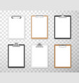 clipboards with empty white paper sheets for vector image