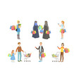 collection different people carrying shopping vector image vector image