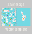 cover design with white rabbits pattern vector image vector image