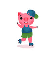 cute happy pig character riding roller skates vector image vector image