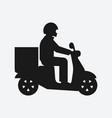 delivery food service man on motorcycle black vector image