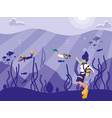divers in tropical seascape scene icon vector image vector image